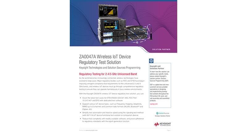 ZA0047A Wireless IOT Device Regulatory Test Solution