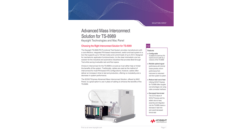 Advanced Mass Interconnect Solution for TS-8989