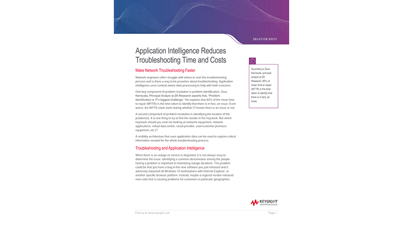 Application Intelligence Improves Troubleshooting Time and Costs