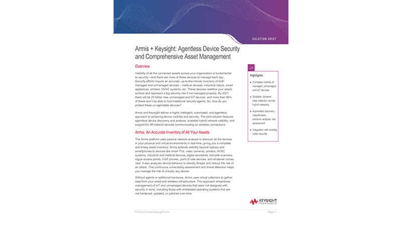 Armis + Keysight: Agentless Device Security and Comprehensive Asset Management