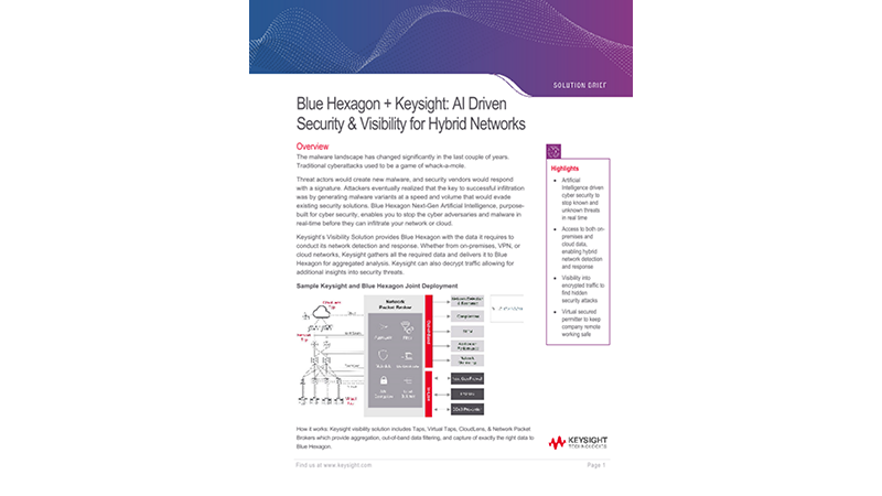 Blue Hexagon + Keysight: AI Driven Security & Visibility for Hybrid Networks
