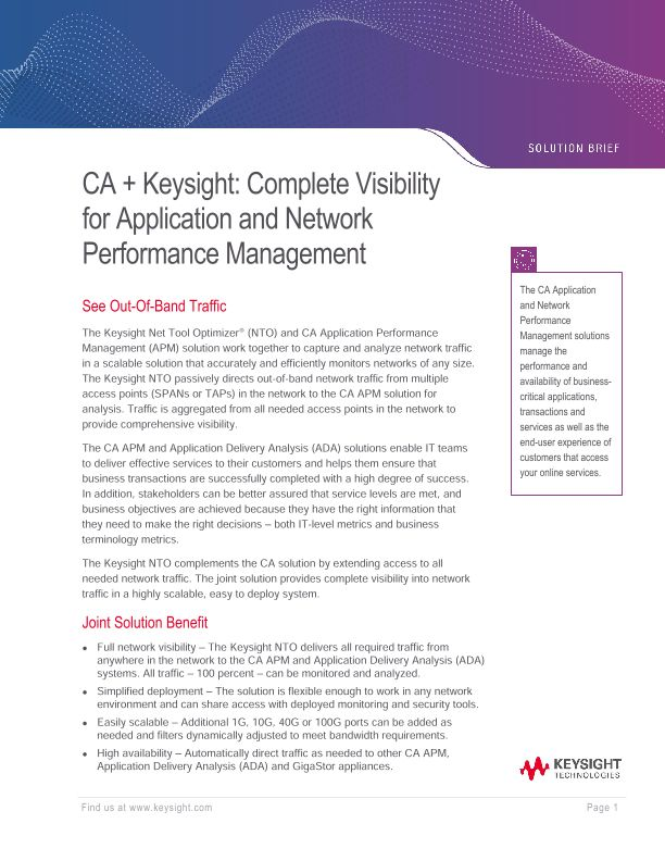 CA + Ixia: Complete Visibility For Application And Network Performance Management