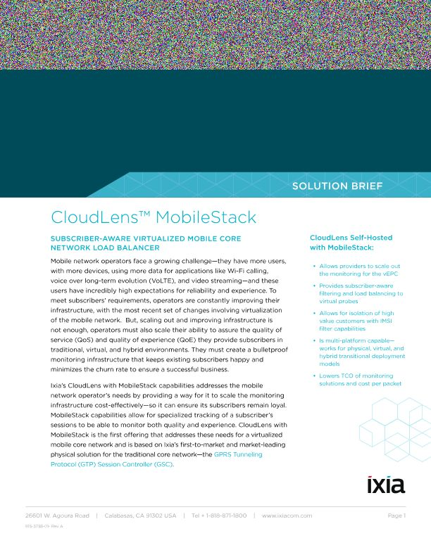 CloudLens + MobileStack: Subscriber-Aware Visibility for the Virtualized Mobile Core