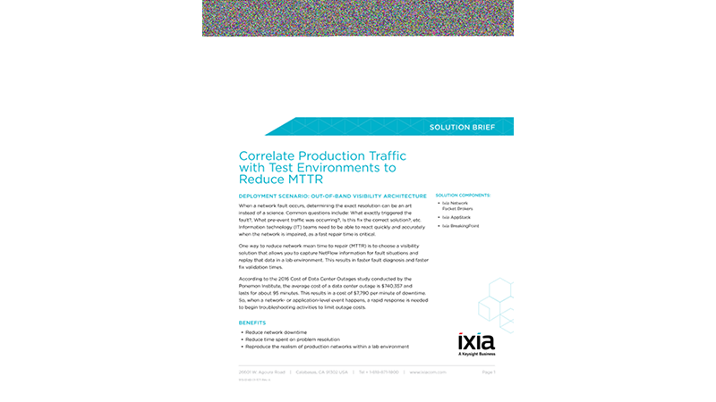 Correlate Production Traffic with Test Environments to Reduce MTTR