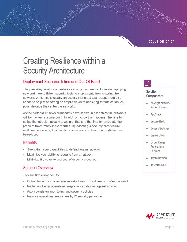 Creating Resilience Within A Security Architecture