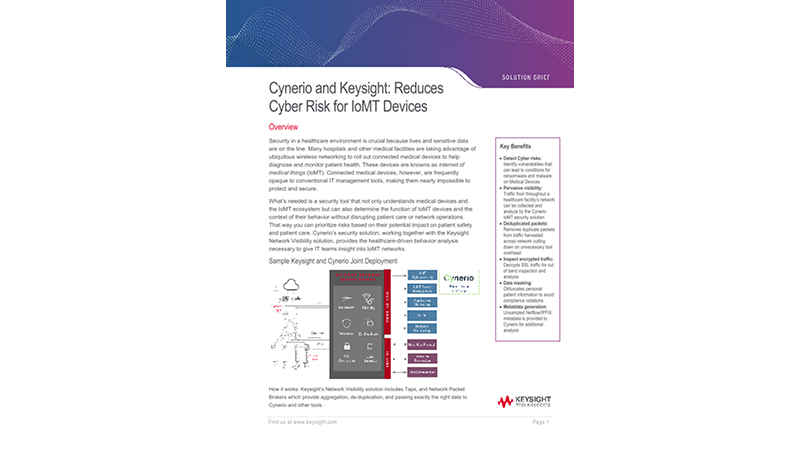 Cynerio and Keysight: Reduces Cyber Risk for IoMT Devices