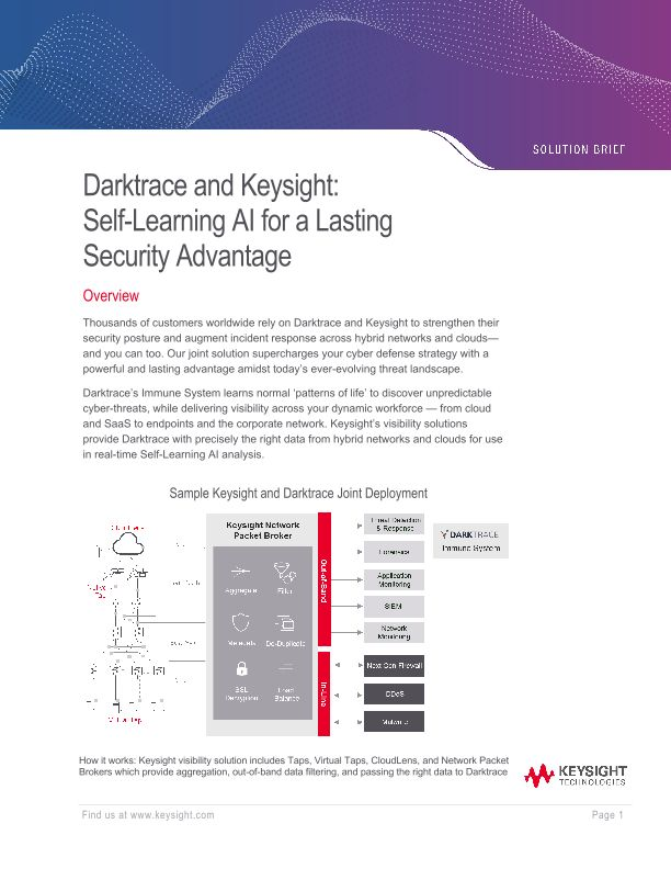 Darktrace and Keysight: Self-Learning AI for a Lasting Security Advantage
