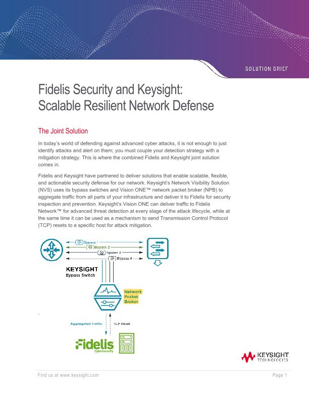 Fidelis Security and Ixia: Scalable Resilient Network Defense