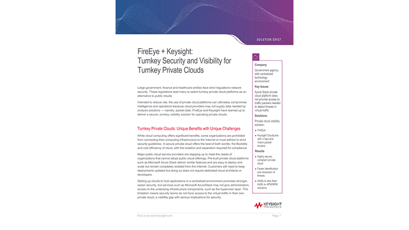 FireEye and Keysight - Security and Visibility for Private Clouds.