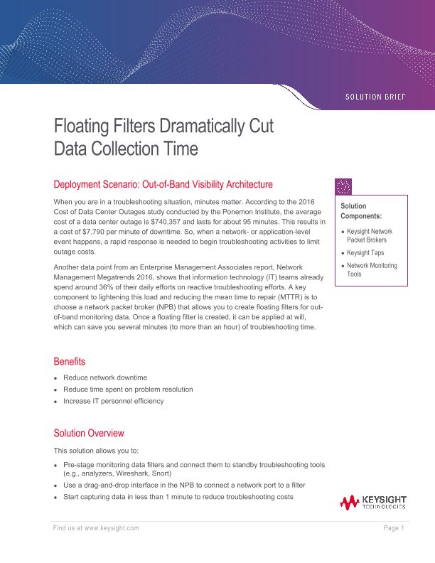 Floating Filters Dramatically Cut Data Collection Time