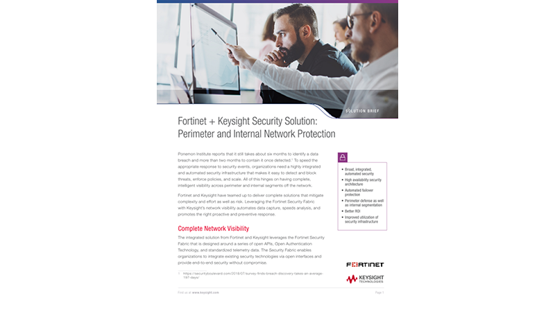 Fortinet + Keysight Security Solution: Perimeter and Internal Network Protection