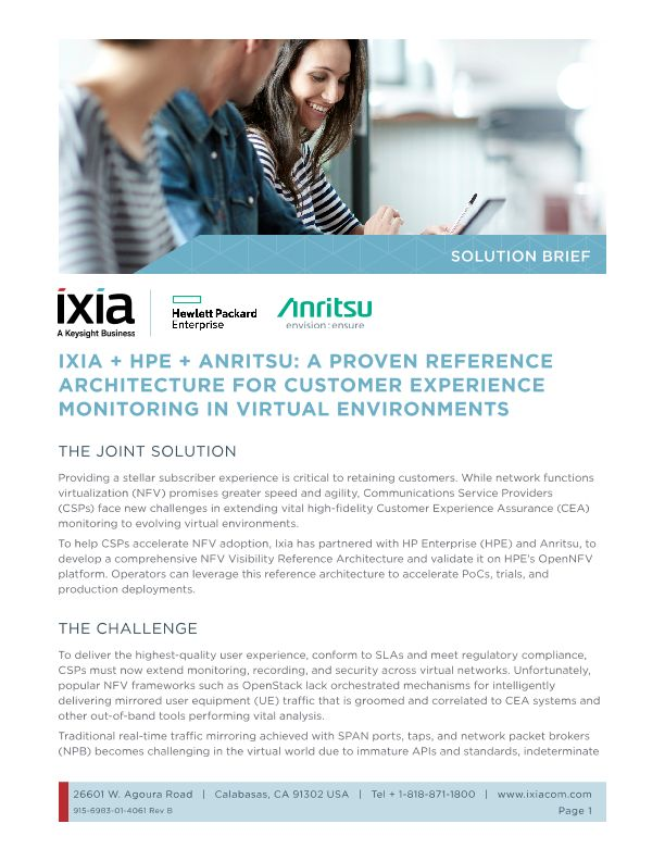 IXIA + HPE + Anritsu: A Proven Reference Architecture for Customer Experience Monitoring in Virtual Environments