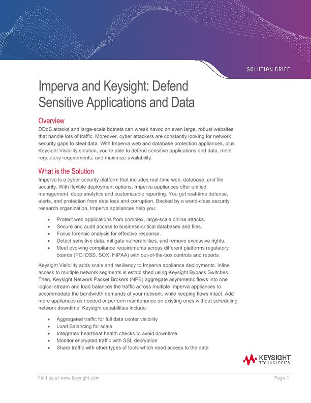 Imperva and Keysight: Defend Sensitive Applications and Data