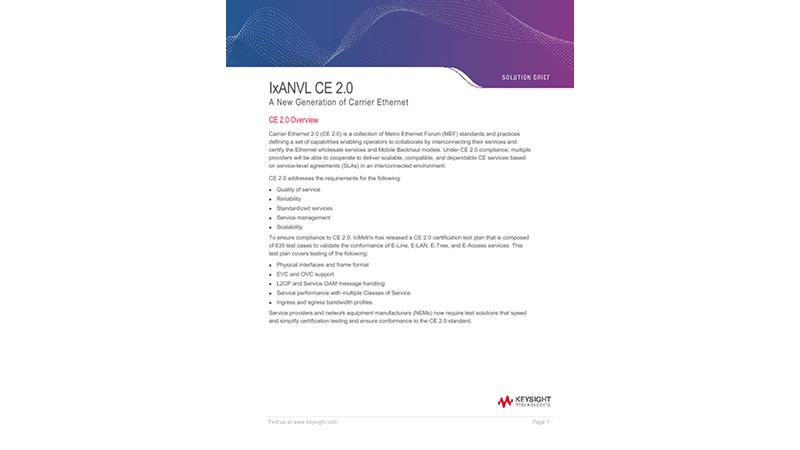 IxANVL CE 2.0: A New Generation of Carrier Ethernet