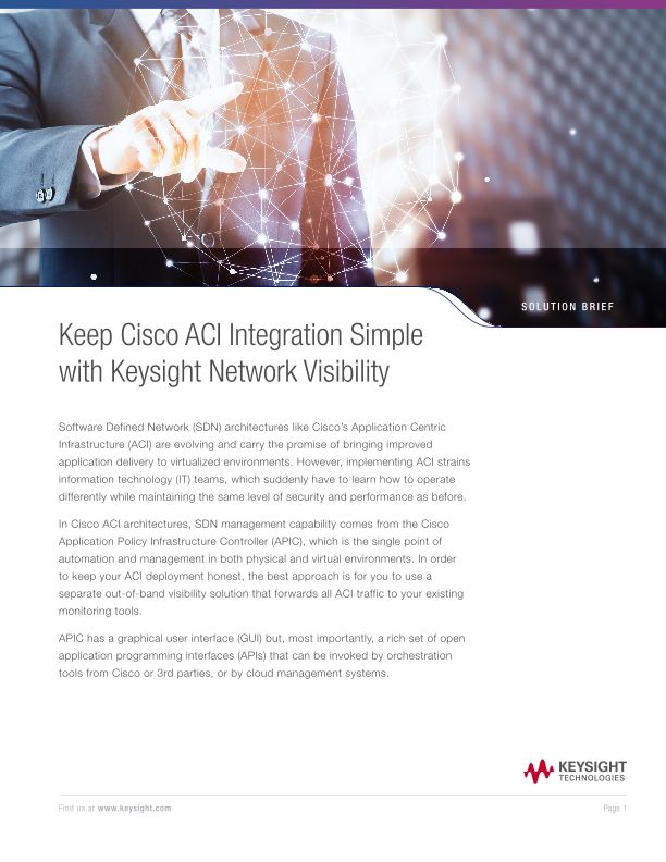 Keep Cisco ACI Integration Simple with Ixia Network Visibility