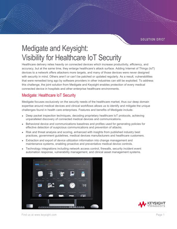 Medigate and Keysight: Visibility for Healthcare IoT Security