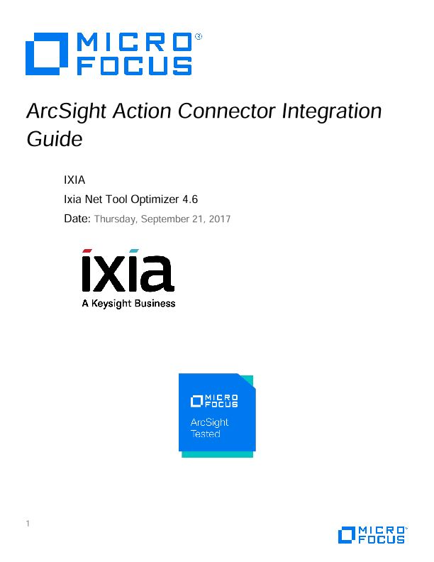 Micro Focus ArcSight – Ixia Integration guide