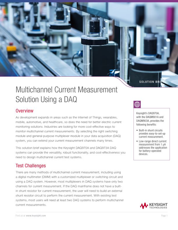 Multichannel Current Measurement Solution Using a DAQ
