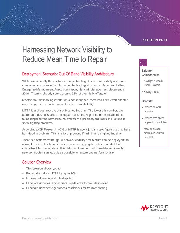 Harnessing Network Visibility To Reduce Mean Time To Repair