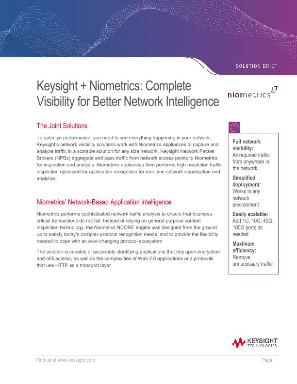 Niometrics and Keysight Provide Complete Visibility for Better Network Intelligence