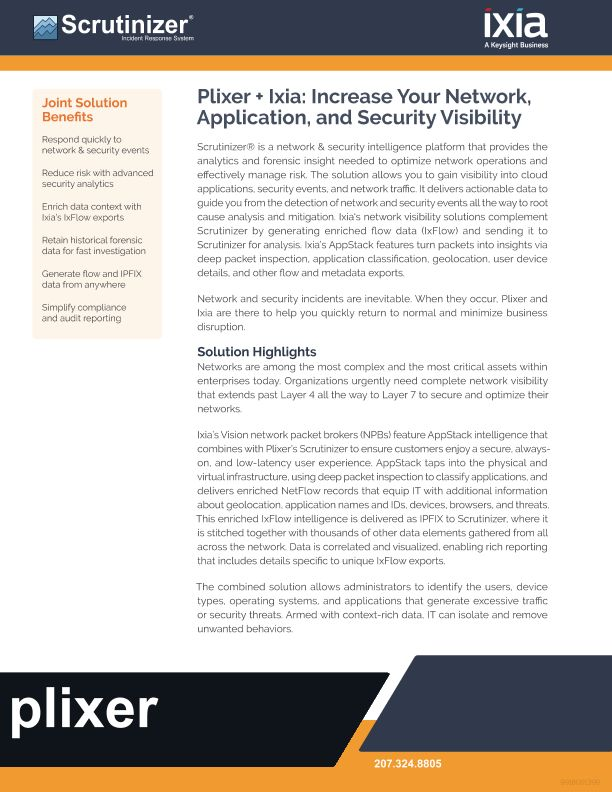 Plixer and Ixia Increase Your Network, Application, and Security Visibility