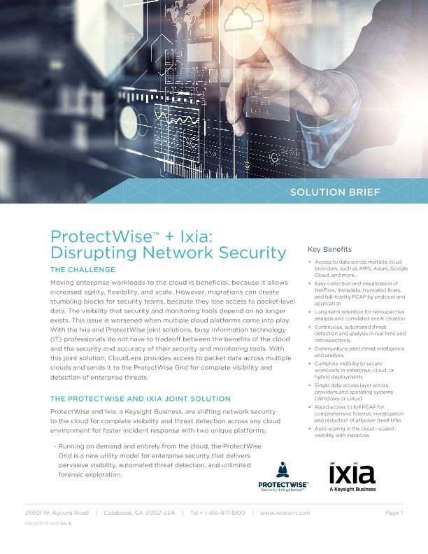ProtectWise and Ixia - Disrupting Network Security