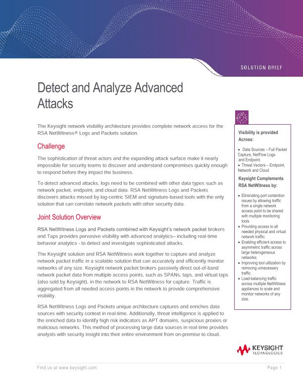 RSA NetWitness and Ixia Solution Brief
