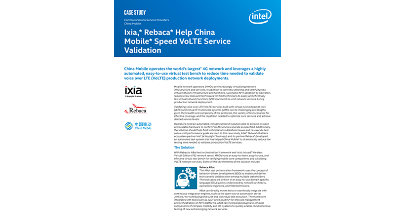 Ixia, Rebaca Help China Mobile Speed VoLTE Service Validation