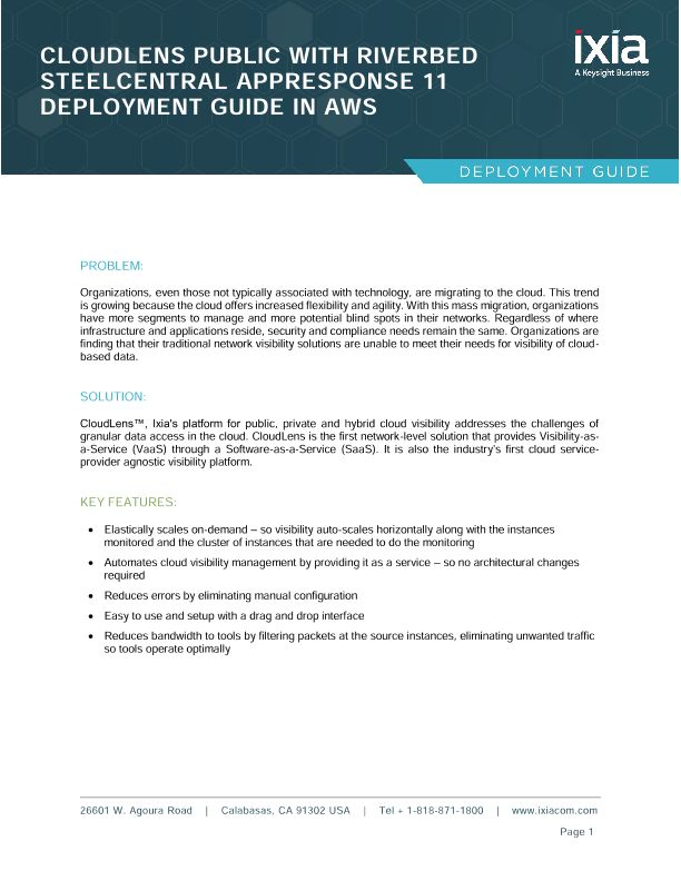 Ixia Cloudlens, Riverbed AppResponse Cloud - Deployment Guide for AWS