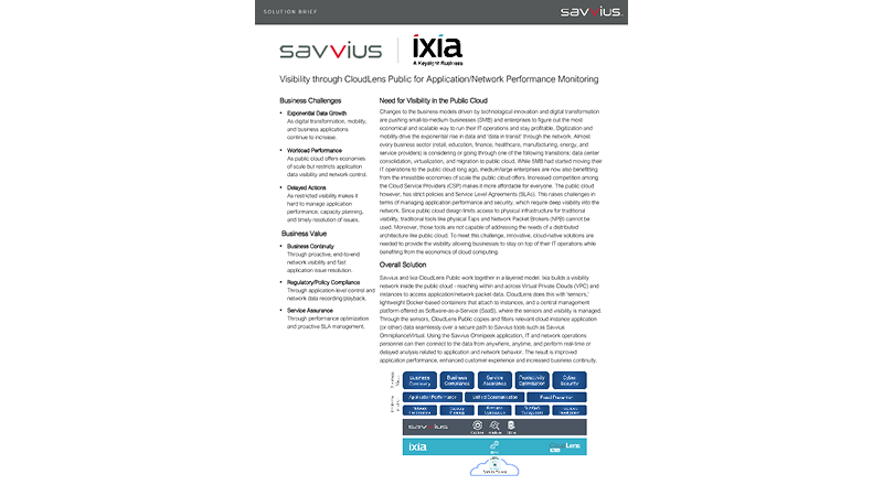 Savvius and Ixia work together to provide public cloud visibility for APM and NPM