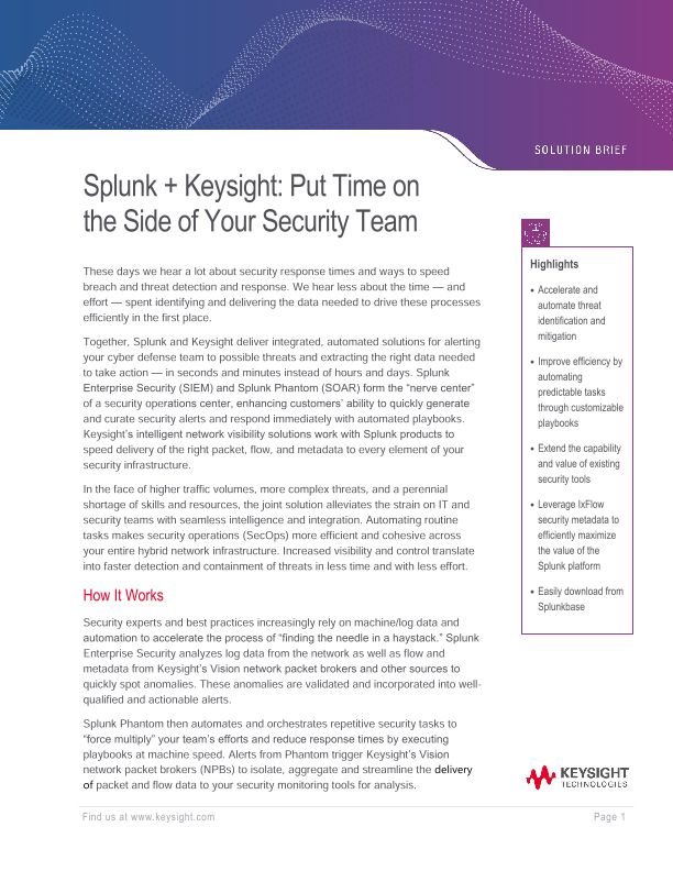 Splunk + Ixia: Put Time on the Side of Your Security Team