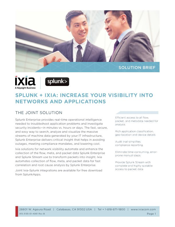Splunk and Ixia Increase Your Visibility into Networks and Applications