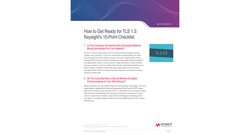 How to Get Ready for TLS 1.3: Ixia's 10-Point Checklist
