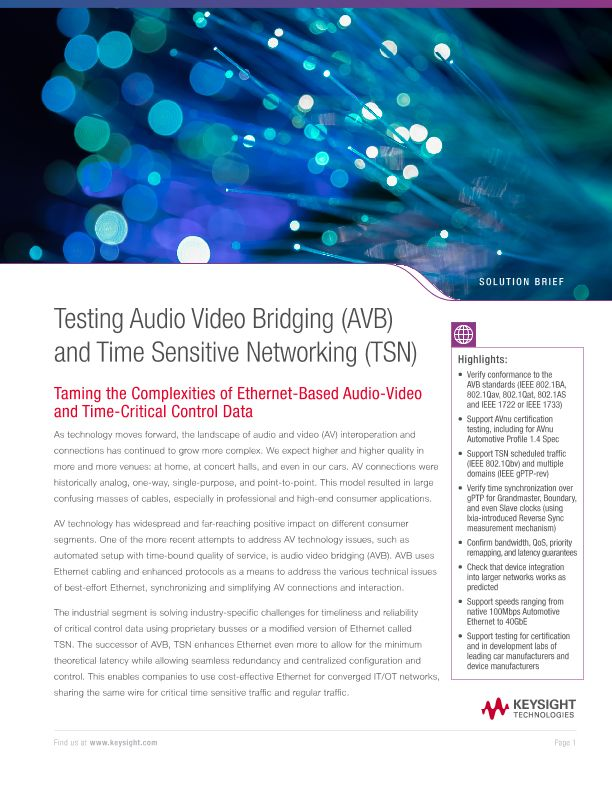 Testing Audio Video Bridging (AVB) and Time Sensitive Networking (TSN)