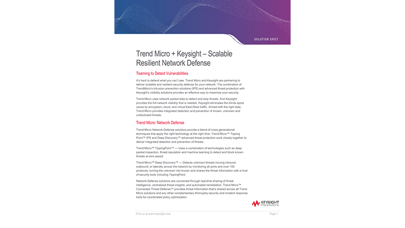 Trend Micro + Keysight – Scalable Resilient Network Defense