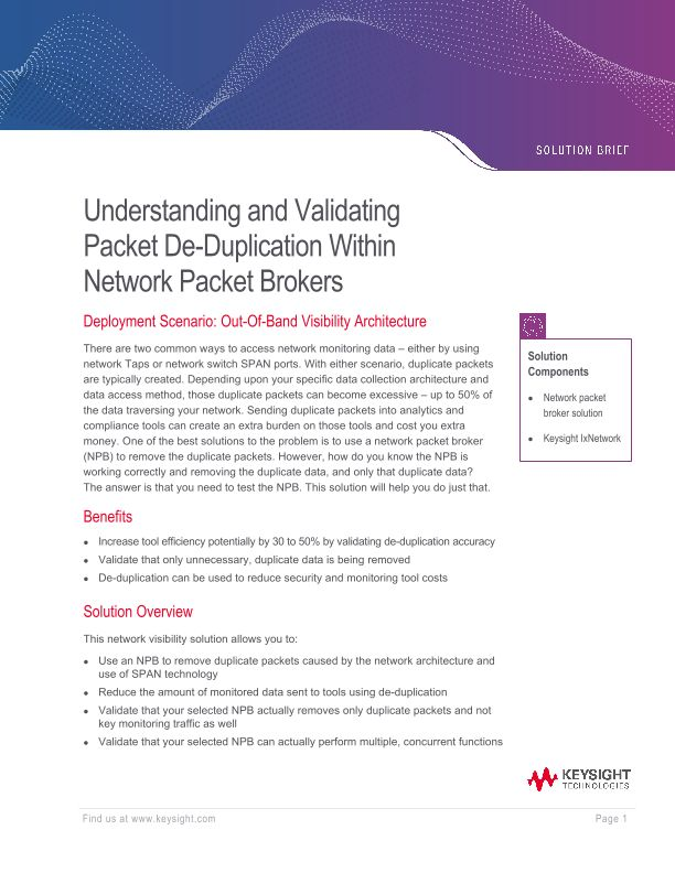 Understanding and Validating Packet De-duplication Within Network Packet Brokers