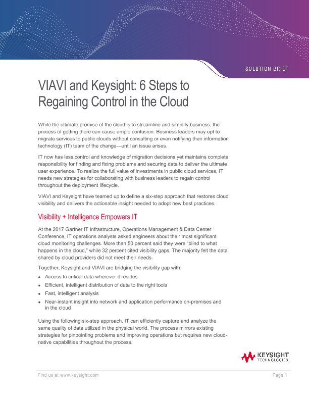VIAVI and Keysight: 6 Steps to Regaining Control in the Cloud
