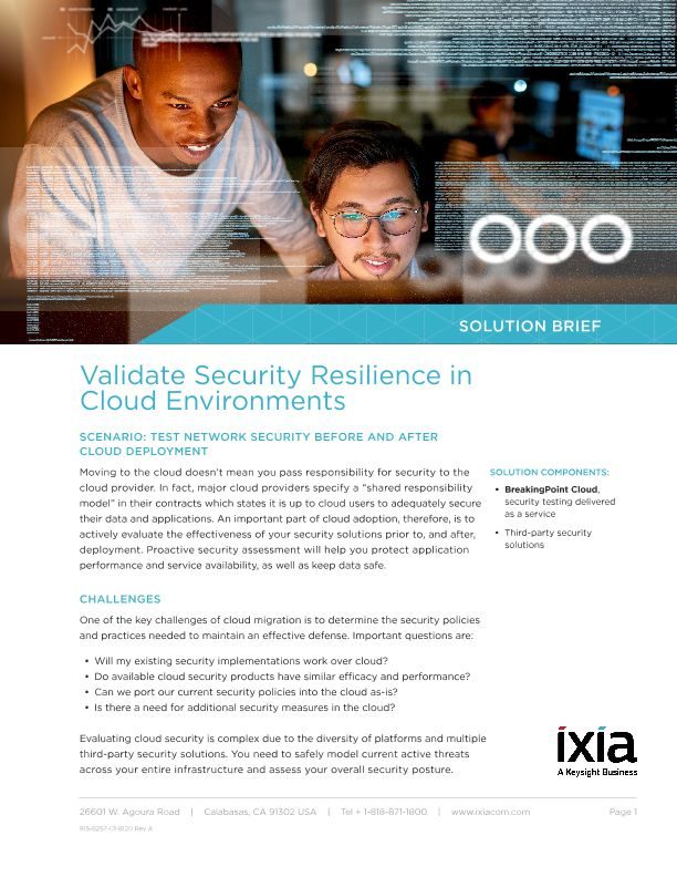 Validate Security Resilience in Cloud Environments