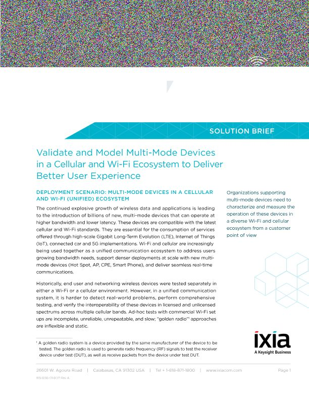 Validate and Model Multi-Mode Devices in a Cellular and Wi-Fi Ecosystem to Deliver Better User Experience