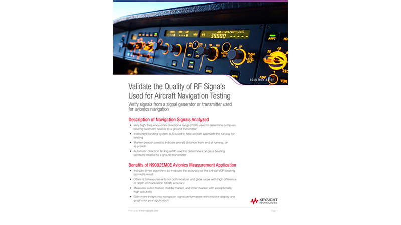 Validate the Quality of RF Signals Used for Aircraft Navigation Testing