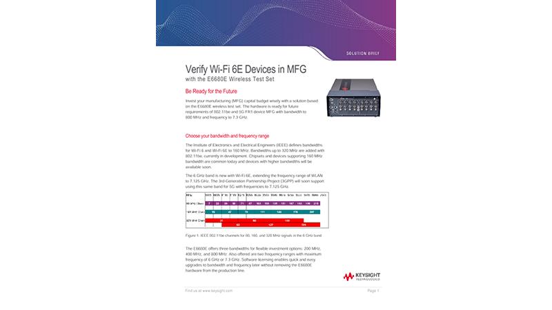 Verify Wi Fi 6E Devices in MFG with the E6680E Wireless Test Set