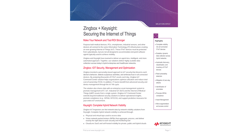 Zingbox + Ixia – Securing the Ever-growing Internet of Things (IoT)