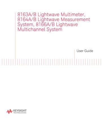 8163A/B, 8164A/B, and 8166A/B Users Guide | Keysight