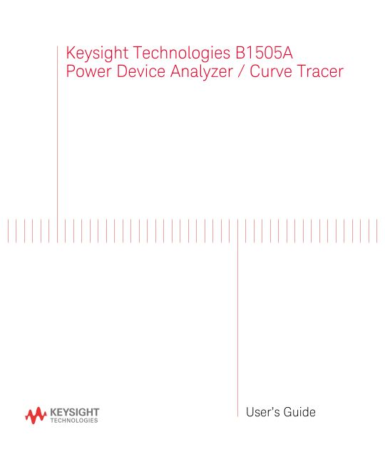 B1505A Power Device Analyzer / Curve Tracer User's Guide
