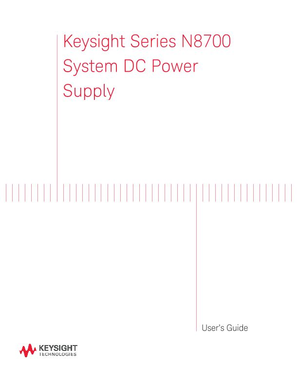 N8700 System DC Power Supply User's Guide