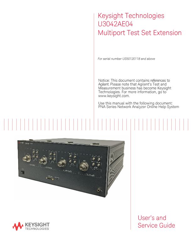 U3042AE04 Multiport Test Set Extension - User and Service Guide