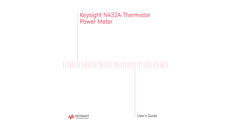 N432A Thermistor Power Meter User Guide