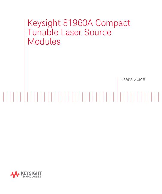 81960A Compact Tunable Laser Source Module User's Guide