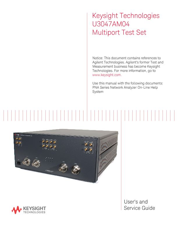 Keysight Technologies U3047AM04 Multiport Test Set User and Service Guide