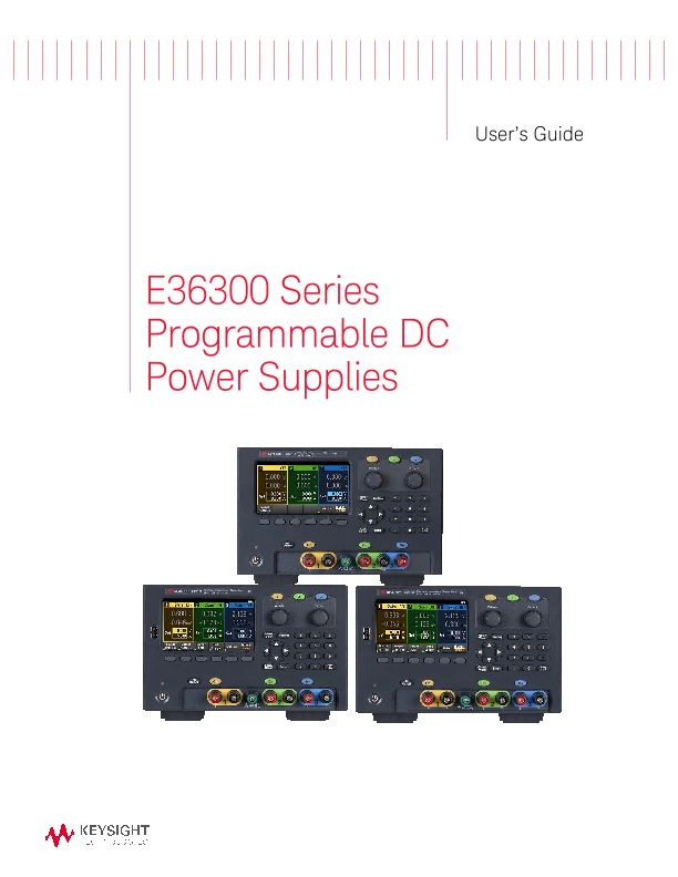 E36300 Series Programmable DC Power Supplies User's Guide (English ...